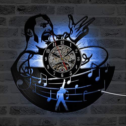 GVC Orologio da Parete Queen Band Freddie LED con 7 Orologi Musicali Rock Star Vintage in Vinile con Cambio Colore e Orologio da Parete