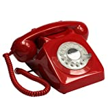 GPO 746 Rotary 1970s-style Retro Landline Telephone with Curly Cord and Authentic Bell Ring - Red