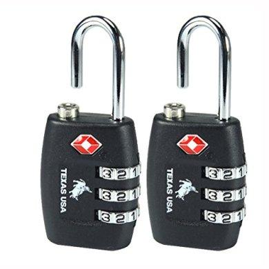 Texas USA - TSA Lock - Pack of 2 Black Locks - Mandatory for US Customs (ONLY Original Branded Lock Online !) 12