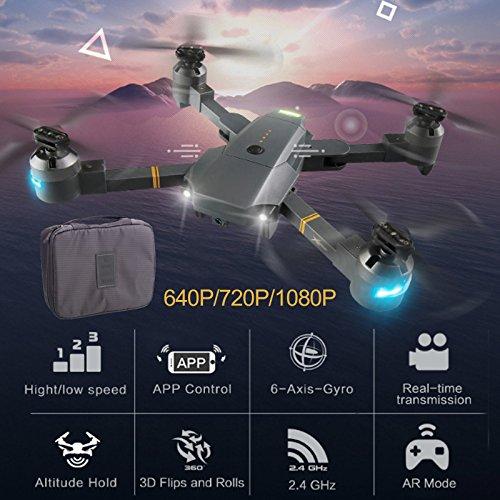 Auntwhale Mini Drone pieghevole RC XT-1, 2.4 G 6 assi Gyro HD fotocamera RC Quadcopter con 120 °...