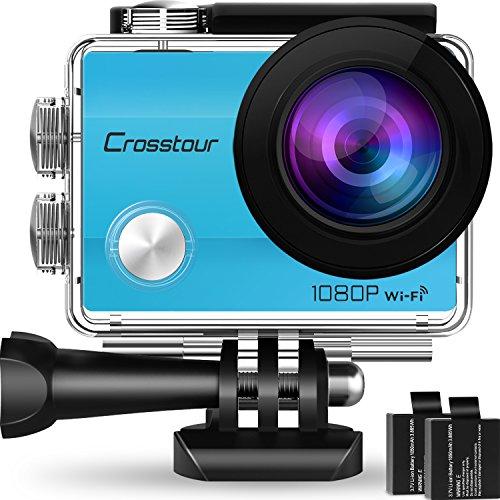 Crosstour Action Cam Impermeabile WiFi Full HD 1080P 12MP Sports Cam 2 Pollici LCD 2 Batterie Ricaricabili 1050mAh 170°Grandangolare e Kit Accessori per Ciclismo Nuoto e Altri Sport Esterni (Blu)