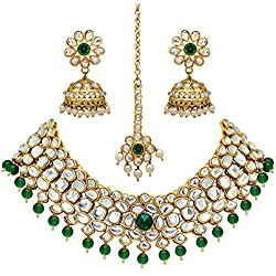 Jaipur Mart Alloy Metal Gold Plated Imitation Pearl and Kundan Jewellery Set for Women