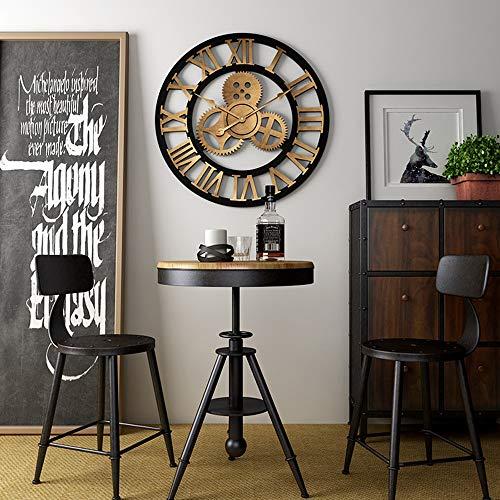 TH26 Orologio da Parete Retro a Mano 3D di Legno Ingranaggi dell'orologio Grande Rustico Decorativo Orologio da Parete Big Europea Vintage Clock Decor Parete for Soggiorno/Ufficio/Bar/Ristorante
