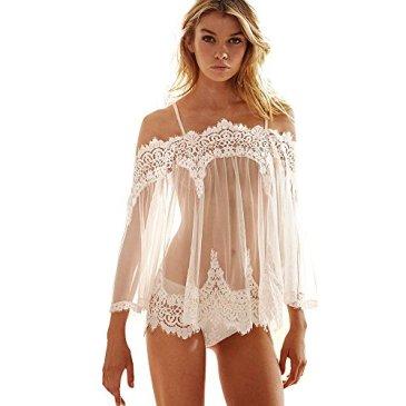 NINGSANJIN Femmes Lingerie Sexy Dentelle Erotique Vêtements Transparentes Nightwear Robe de Nuit Costume