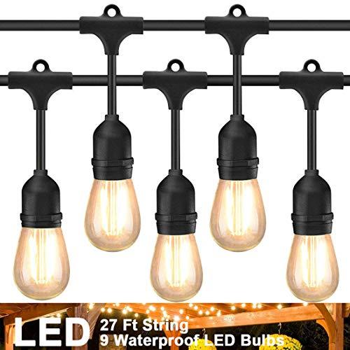 Luci a LED per Esterne 30Ft con 9 Prese Appese, Impermeabile Luce Stringa Catena di Lampadine, Cafe...