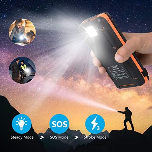 Hiluckey Chargeur Solaire 25000mAh Portable Power Bank avec Deux 2.1A Ports Imperméable Power Bank avec Lampe LED Batterie Externe pour iPho... 27