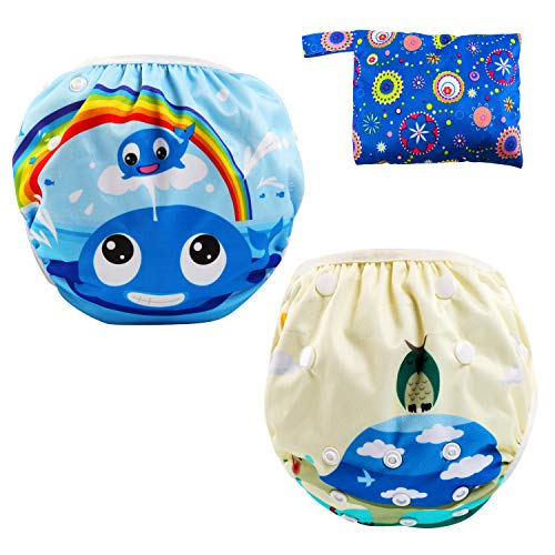 LEADSTAR Riutilizzabile Pannolini da Nuoto, Confezione da 2 Baby Nappy Costume Pannolino Pantaloni Lavabili, Impermeabile Pannolino Piscina per Ragazze dei Ragazzi 0-3 Anni