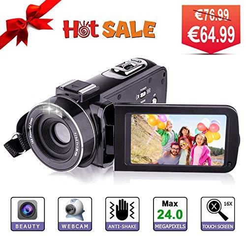 Videocamera Digitale - YUNDOO Videocamera Full HD 1080P Camcorder, 3.0 pollici LCD 270 gradi schermo...