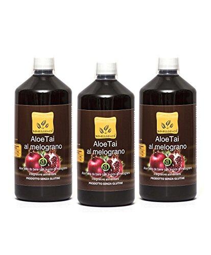 Succo e polpa di Aloe Vera da bere e Melograno - OFFERTA 3 bottiglie da 1 L - prodotto italiano