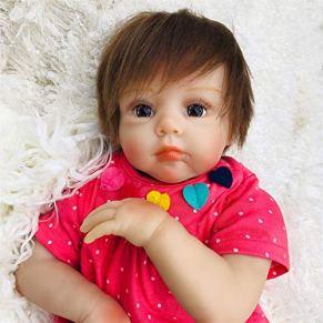ZZSQ Realista Reborn Muñecas de bebé 22 Pulgadas Silicona Suave Real Realista Recién Nacido Real Reborn Niño Baby Doll Hechas a Mano Ojos Abiertos Baby Girls