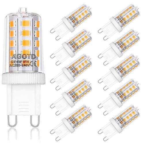AGOTD 4W G9 LED Lampadine, Lampade LED Bianche Calde da 2700K, Equivalente a 40W Lampada Alogena,...