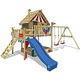 WICKEY Spielturm Smart Trip - Klettergerüst mit Stelzenhaus, massivem Holzdach, Schaukel, Kletterleiter, Sandkasten und blauer Wellenrutsche