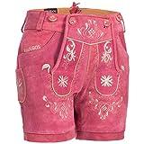 PAULGOS Damen Trachten Lederhose + Träger, Echtes Leder, Kurz in 8 Farben Gr. 34-50 M3, Damen Größe:42, Farbe:Pink