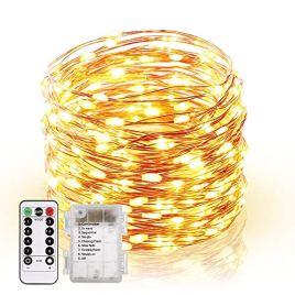 Guirlande Lumineuse 120 LED Fées Lumières 13M Guirlande en Fil Cuivre avec 8 Modes Batterie Case Étanche Télécommande Ficelles de Lumières pour DIY Maison Jardin Noël Anniversaire