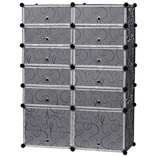 EGLEMTEK Scarpiera Armadio Guardaroba Modulare Scaffale Mobiletto 10 Cubi Rettangolari + 2 Cubi...