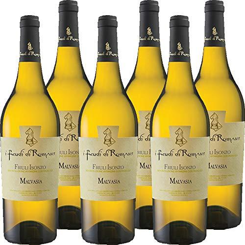 Malvasia Friuli Isonzo Doc | I Feudi di Romans | 100% Malvasia Istriana | Vino Bianco Friulano |Confezione 6 Bottiglie da 75 cl |Idea Regalo