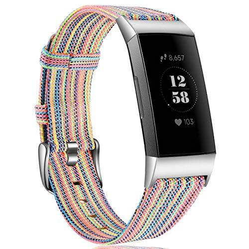 HUMENN Cinturino per Fitbit Charge 3 Tessuto Cinturini, Ricambio Tessuto Regolabile Braccialetto Accessori Sportivo Polsino per Fitbit Charge 3, Piccolo Colorato