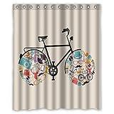 Cortina de ducha para baño tejido impermeable carcasa para bicicleta Vintage 152,4 cm (W) x 182,88 cm (H)