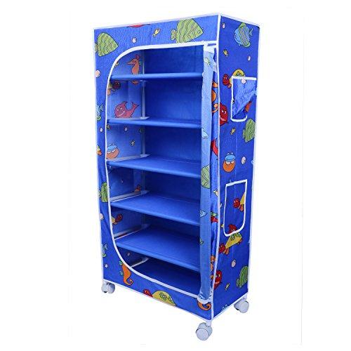 Little One's | 6 Shelves Foldable Wardrobe/Toy Box | Aquatic Blue