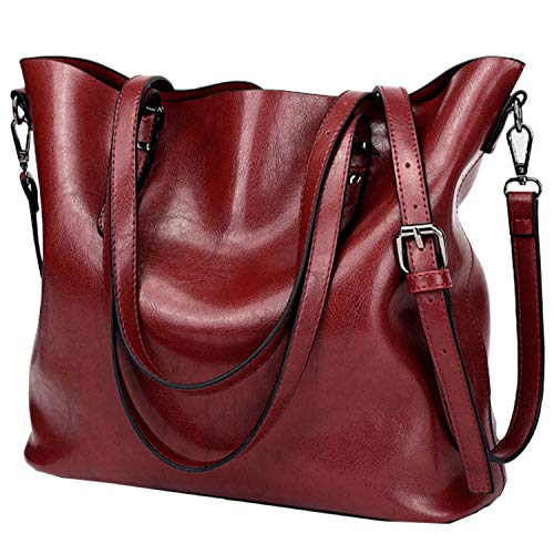 TASLAR Women's Leather Work Purses Handbags Vintage Shoulder Tote Bag with Zipper Adjustable Straps for Ladies, Girls (Red Wine)