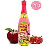 Succo di Mela e Fragola Gassato | Woogie Party Apple | 3 Bottiglie 75 cl | Kids DrinK | Bevanda Analcolica per Bambini
