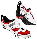 triseven Premium Triathlon Fahrradschuhe - Ultraleichte, Atmungsaktive Schuh, Rot weiß ,  in der Übergangszone!  - 42