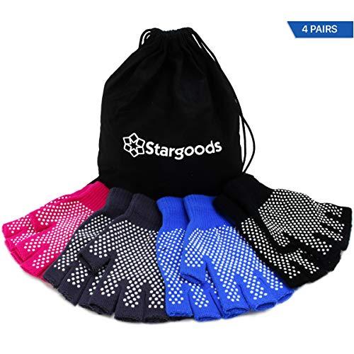 Guanti Yoga aderenti Stargoods - Confezione da 4 paia antiscivolo in colore Nero, Grigio, Rosa e Blu