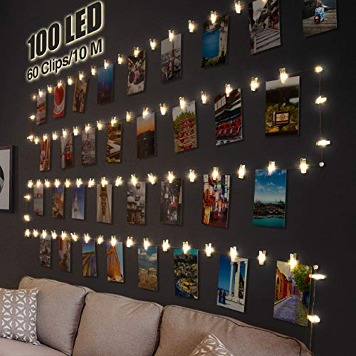 Luci Per Foto,Litogo 10M 100LED Lucine Led Decorative Per Camere Filo Per Foto Con Mollette Luci Led...