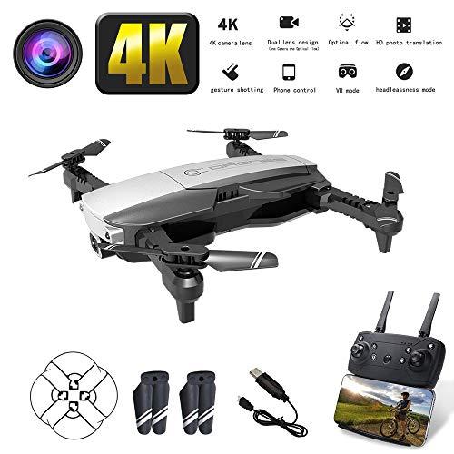 NANE Drone con Telecamera 4K Full HD, Volo di traiettoria, modalità Headless, Funzionamento con Un Solo Pulsante, Drone Fisso a 4 Assi a Flusso Ottico Pieghevole e Telecomando