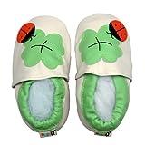 LSERVER Zapatos de bebé de Cuero Suave Pantuflas Infantiles Patuco de Suela Suave, Trébol de Cuatro Hojas, S (0-6 Meses)