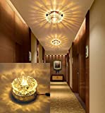 1Pc 5W LED Crystal Ceiling Light Fixture Warm White Pendant Lamp Lighting Chandelier