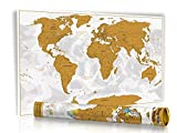 Rubbel Weltkarte -Gold- Limited Edition 2017 in Geschenkrolle mit Metalldeckel - XXL Design Rubbel Weltkarte mit 3D Relief-Optik (einzigartiges Berg und Ozean Relief) - Original Wenschow seit 1918 - (Dünn laminiert: beschreib- u. abwischbar / Länderfarbschutz beim Rubbeln)