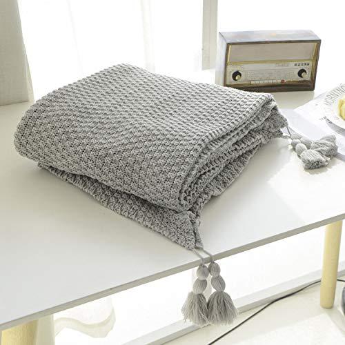 MYLUNE HOME 100% cotone Lusso Coperta in Maglia per guardare la TV su sulla sedia, divano e letto,Doppia Copertine Sided 130*160cm