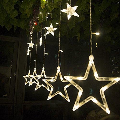 Salcar luci colorate di Natale del LED 2 * 1 metro 12 stelle colorate illuminano tenda per le feste...