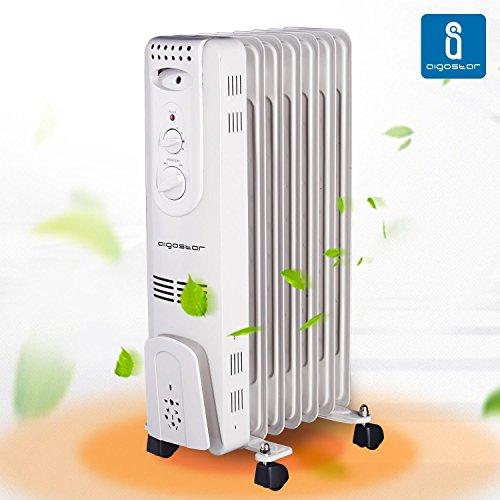 Aigostar Hotwin 33ICZ – Radiador de aceite de 7 elementos, 1500 Watios, dispone de 3 ajustes de potencia y control termostático de temperatura. Diseño exclusivo.