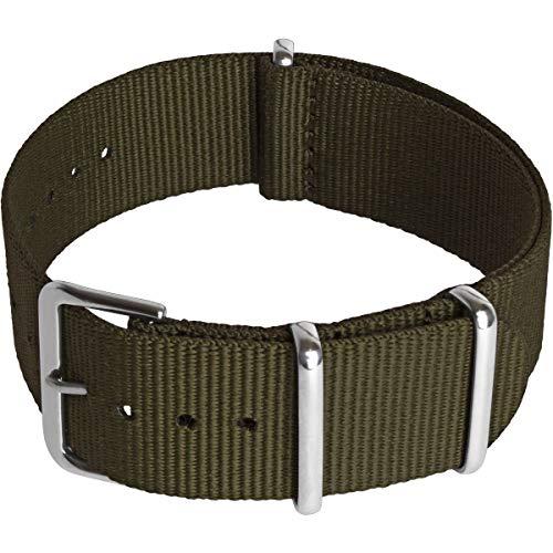 CampTeck U6949 - Cinturino NATO (24|22|20|18mm) Cinturino Orologio Ricambio Cinturino Militare Nylon Fibbia ad Ardiglione in Acciaio Inossidabile per Orologi con Barre a Molla - Verde Oliva - 18mm