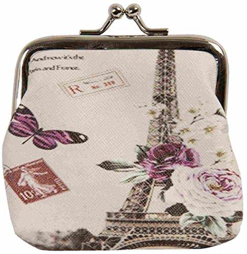 Clayre y fed FAP0096 cartera monedero monedero de la torre Eiffel Mariposa neceser estuche aprox 9 x 7 cm