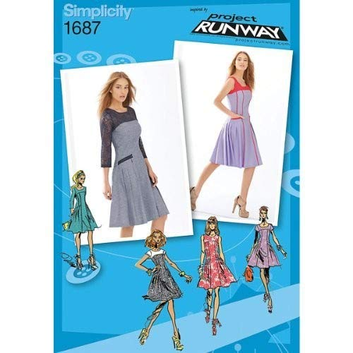 Simplicity Project Runway Pattern 1687 Misses Miss Petite Dress with Bodice and Sleeve Variations Sizes 4-6-8-10-12