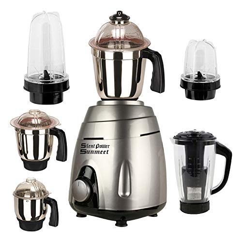 MasterClass Sanyo silver Color 1000Watts Mixer Grinder with 2 Bullet Jar plus 4 Jar and 1 Juicer Jar with filter, 1 Large Jar, 1 Medium Jar and 1 Chuntey Jar 2019-BJ-TA
