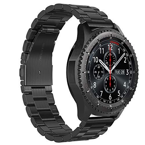 GeeRic Cinturino Compatibile per Samsung Galaxy Watch 46MM/Gear S3, Braccialetto in Acciaio Inox Cinturino Moda Tre Fibbia Cinturini Compatibile con Samsung Galaxy Gear S3/Samsung Watch 46MM Nero