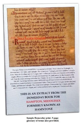 Domesday Book page print for CRANFIELD, BEDFORDSHIRE