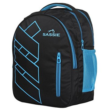 Sassie Polyester 41 L Black Blue School and Laptop Bag with 3 Large Compartments 4