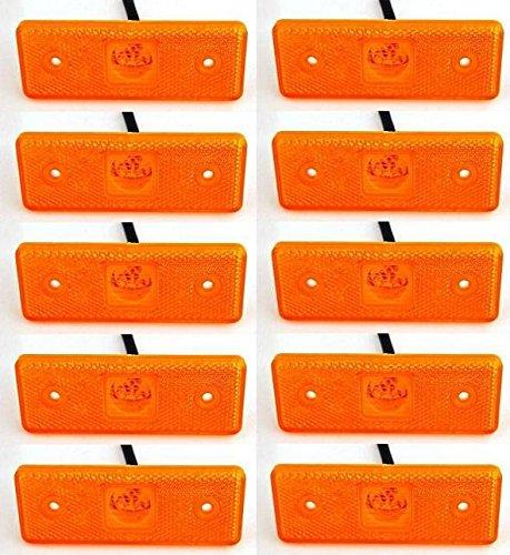 Luci di posizione laterali sagomate confezione da 10 pezzi colore: arancione ambra 24 V 4 LED per...