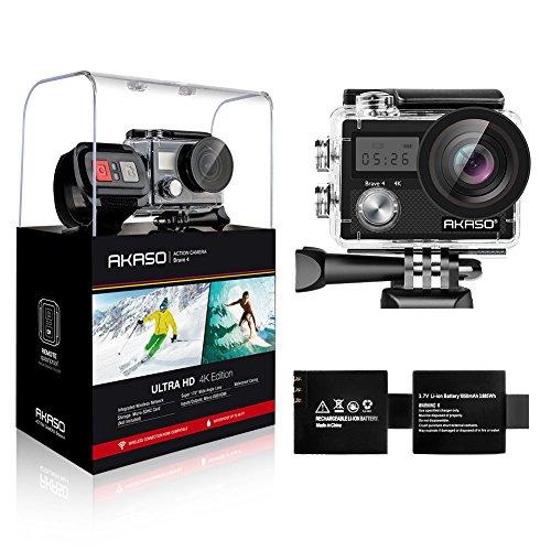 AKASO 4K WiFi Action Camera, Angolo Variabile Doppio Schermo 5 Volte Zoom Telecomando Caricabatterie con 2 Batterie Sommergibile 30m, Accessori Multipli (Modello Brave4)