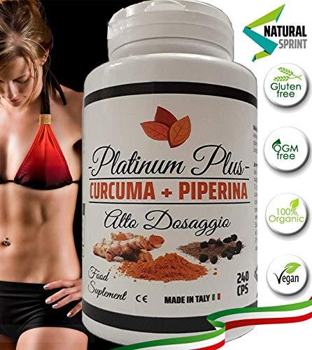 CURCUMA+PIPERINA | ALTO DOSAGGIO | VEGAN 240 CPR Naturali di Puro Estratto di Curcumina | Brucia Grassi | Antinfiammatorio | Antidolorifico | Antiossidante | Made in Italy