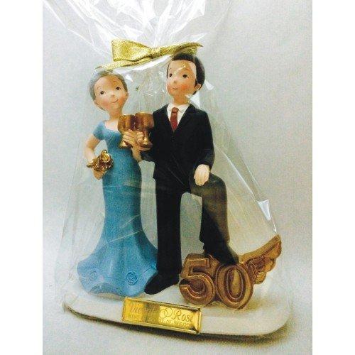 Figura pastel bodas de oro 50 aniversario GRABADA/figuras PERSONALIZADAS para tarta baratas