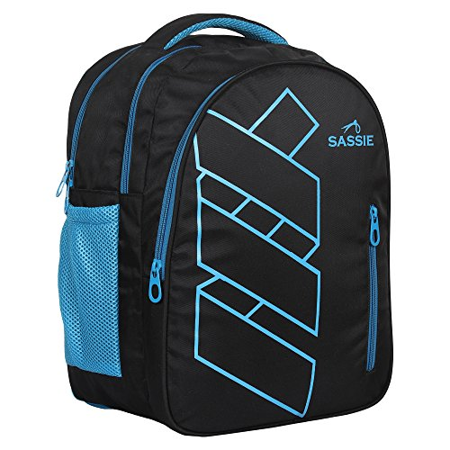 Sassie Polyester 41 L Black Blue School and Laptop Bag with 3 Large Compartments 9