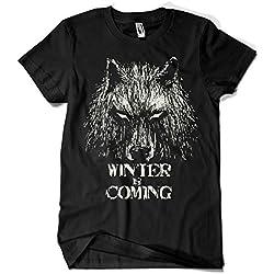 344-Camiseta Winter Is Coming (Fuacka) (Negro, L)