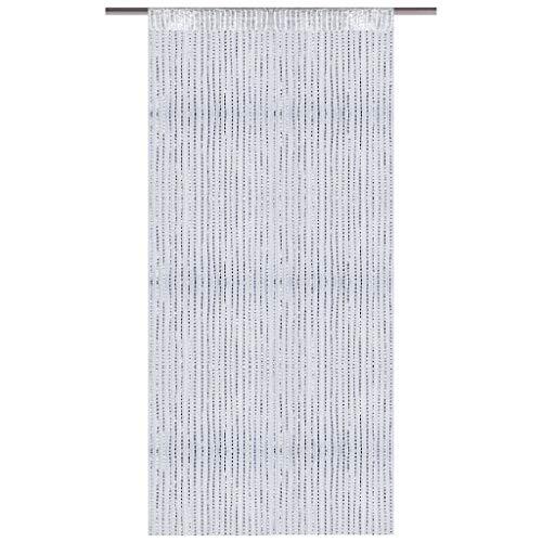 Arsvita Fadenvorhang Metallik-Optik mit Stangendurchzug, Türvorhang 140x250cm (Weiß)
