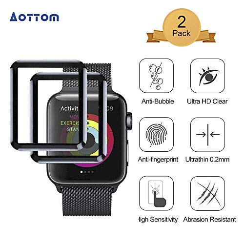 Aottom [2 Pack] Pellicola Vetro Temperato per Apple Watch 42mm, Pellicola Protettiva per iWatch Series 3/2/1 Screen Protection [3D Curved Full Coverage] Carbon Fiber Frame Edge Tempered Glass Film